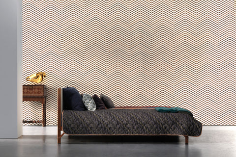 Timber Strips Wallpaper in Scrapwood on Teak Chevron by Piet Hein Eek for NLXL Wallpaper