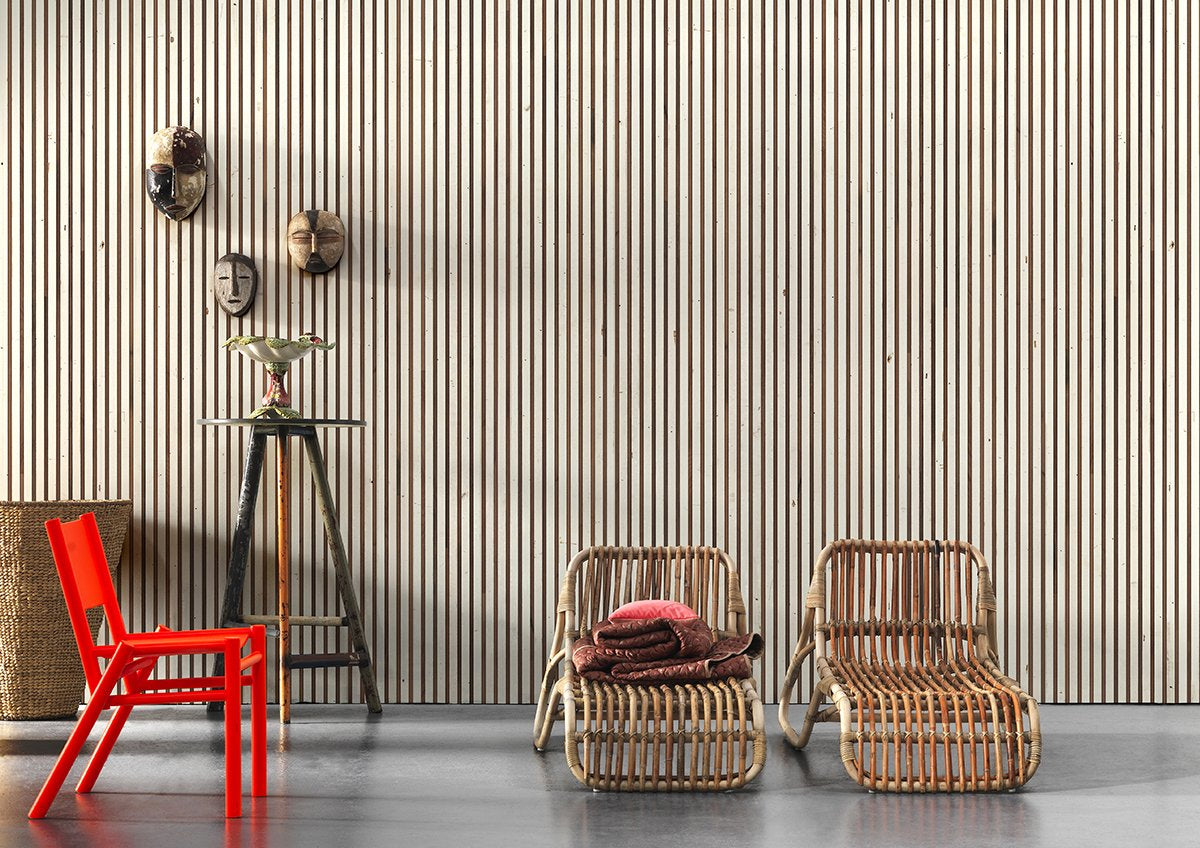Timber Strips Wallpaper In Scrapwood On Teak By Piet Hein