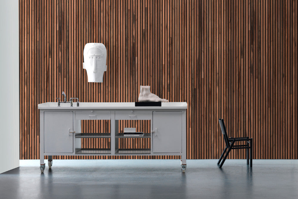 Timber Strips Wallpaper in Teak on Black by Piet Hein Eek for NLXL Wallpaper