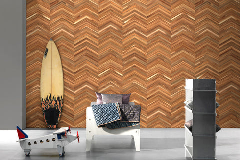 Timber Strips Wallpaper in Teak on Teak Chevron by Piet Hein Eek for NLXL Wallpaper