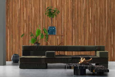 Timber Strips Wallpaper in Teak on Teak by Piet Hein Eek for NLXL Wallpaper