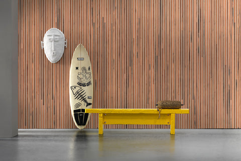 Timber Strips Wallpaper in Teak on White by Piet Hein Eek for NLXL Wallpaper