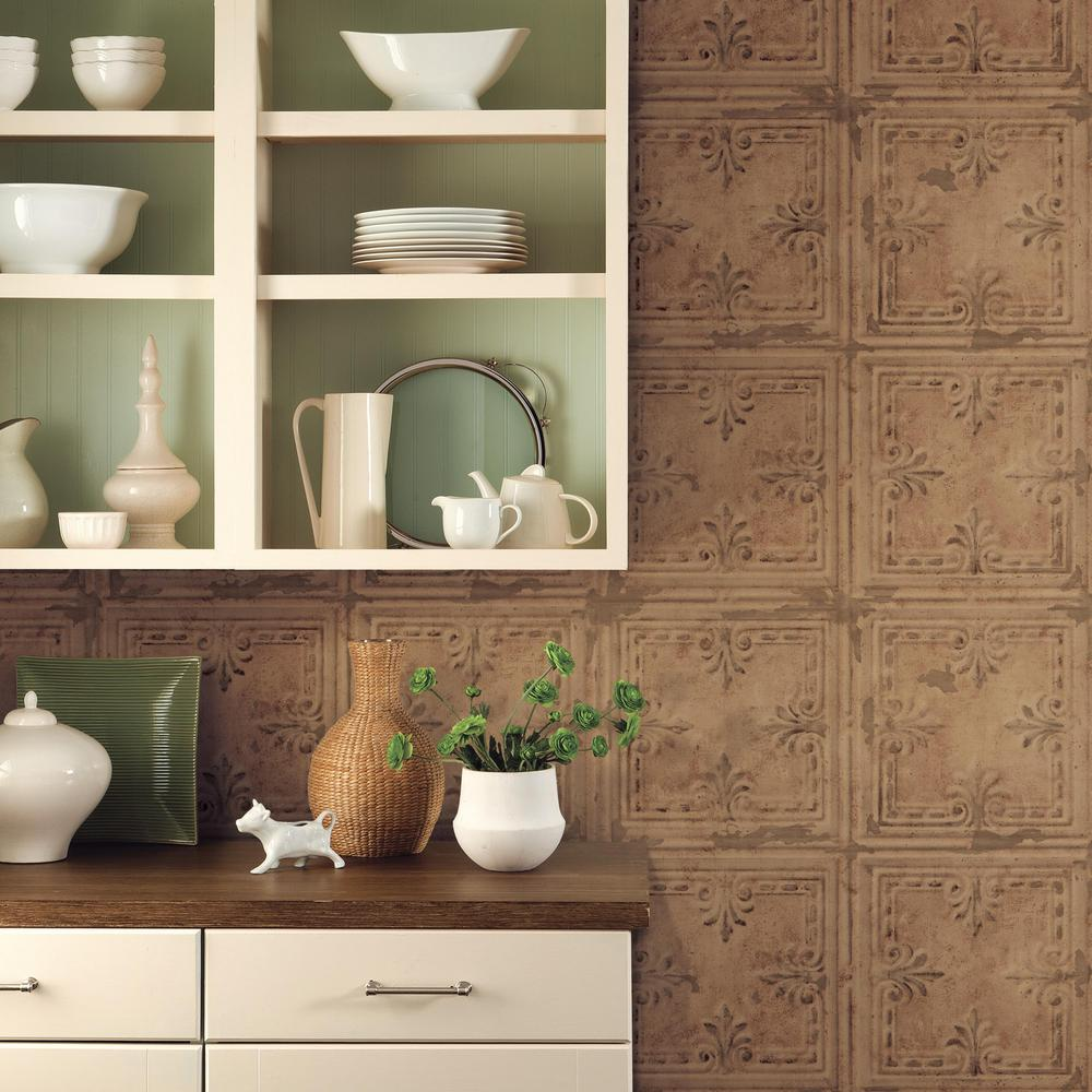 Tin Tile Peel Amp Stick Wallpaper In Copper By Roommates For