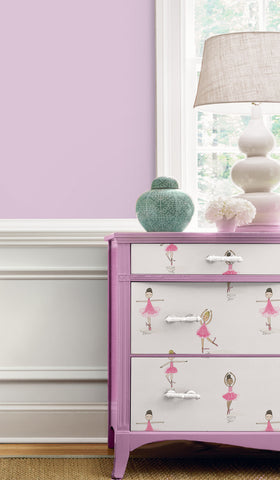Tiny Dancers Peel-and-Stick Wallpaper in Pink & White by NextWall