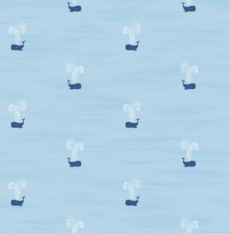 Tiny Whales Wallpaper in Sky Blue and Navy from the Day Dreamers Collection by Seabrook Wallcoverings
