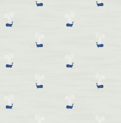 Tiny Whales Wallpaper in Soft Grey and Navy from the Day Dreamers Collection by Seabrook Wallcoverings