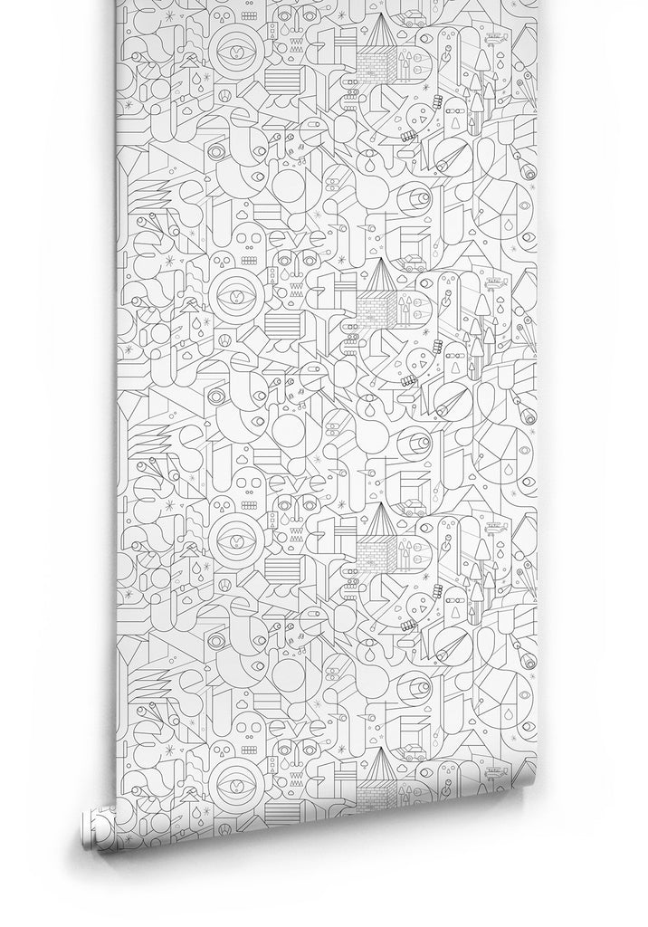 Tipografia Wallpaper in White by Milton & King