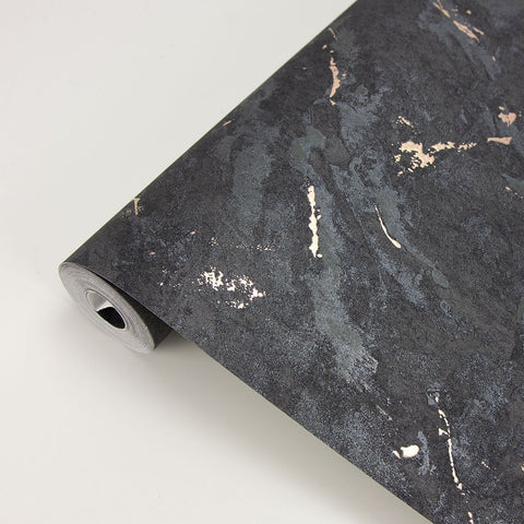 Titania Marble Texture Wallpaper in Black from the Polished Collection by Brewster Home Fashions