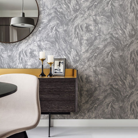 Titania Marble Texture Wallpaper in Pewter from the Polished Collection by Brewster Home Fashions
