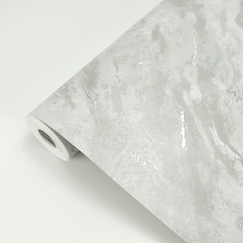 Titania Marble Texture Wallpaper in Silver from the Polished Collection by Brewster Home Fashions