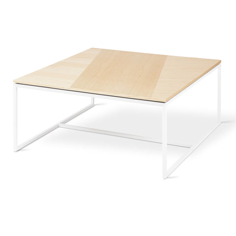 Tobias Square Coffee Table in Blonde Ash & White by Gus Modern by Gus Modern