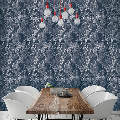 Tokyo Self-Adhesive Wallpaper (Single Roll) in Celestial Blue by Tempaper