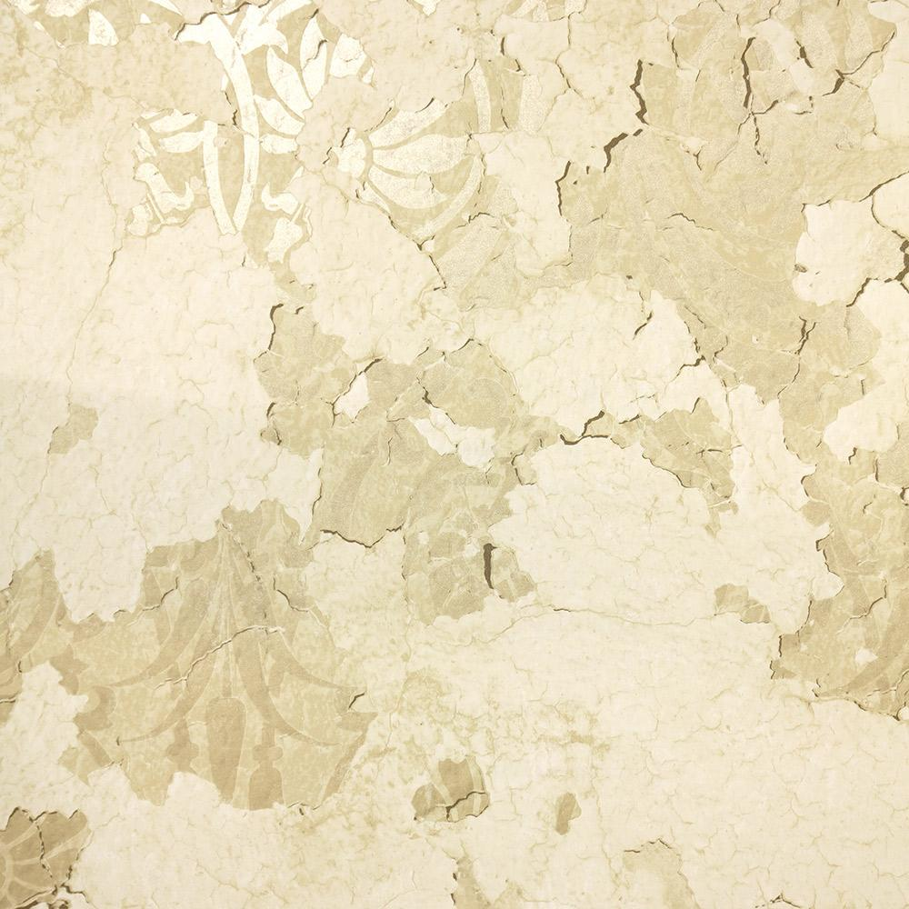 Torn Floral Wallpaper in Gold from the Precious Elements Collection by Burke Decor