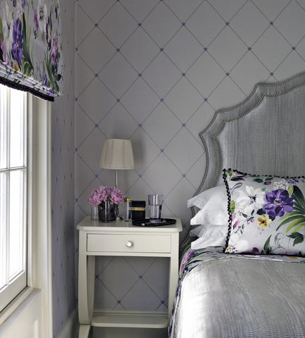 Torosay Wallpaper in Purple and Stone by Nina Campbell for Osborne & Little