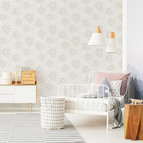 Toss The Bouquet Peel & Stick Wallpaper in Neutral by RoomMates for York Wallcoverings