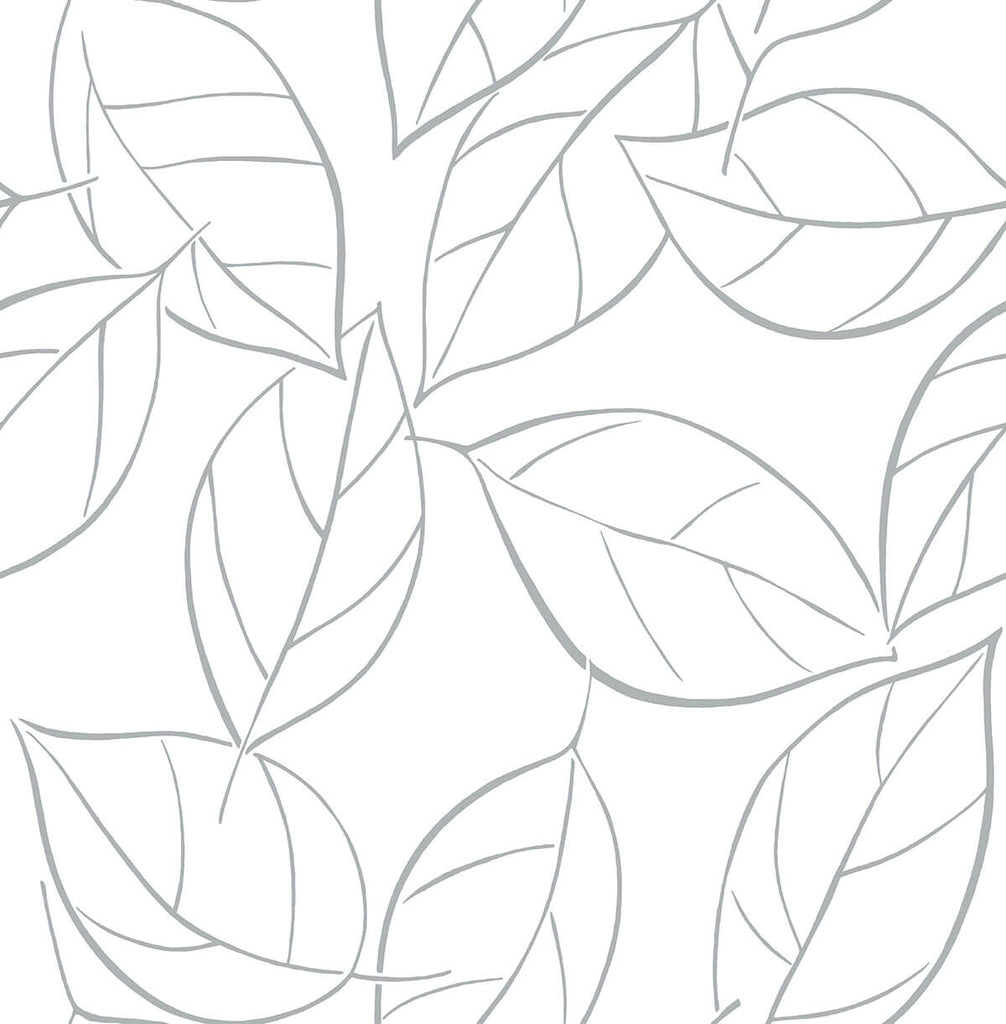 Sample Tossed Leaves Peel-and-Stick Wallpaper in Daydream Grey by NextWall