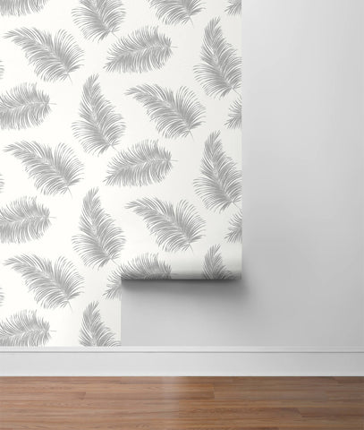 Tossed Palm Peel-and-Stick Wallpaper in Alloy from the Luxe Haven Collection by Lillian August