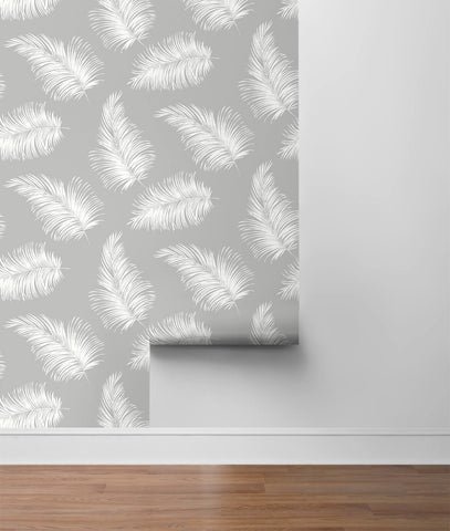 Tossed Palm Peel-and-Stick Wallpaper in Harbor Mist from the Luxe Haven Collection by Lillian August