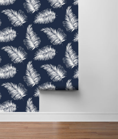 Tossed Palm Peel-and-Stick Wallpaper in Navy Blue from the Luxe Haven Collection by Lillian August