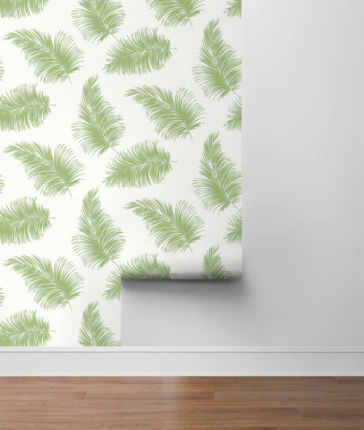 Tossed Palm Peel-and-Stick Wallpaper in Summer Fern from the Luxe Haven Collection by Lillian August