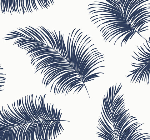 Tossed Palm Peel-and-Stick Wallpaper in White and Navy from the Luxe Haven Collection by Lillian August