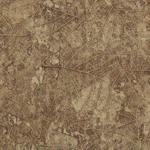 Tossed Leaves Wallpaper in Brown and Gold design by York Wallcoverings