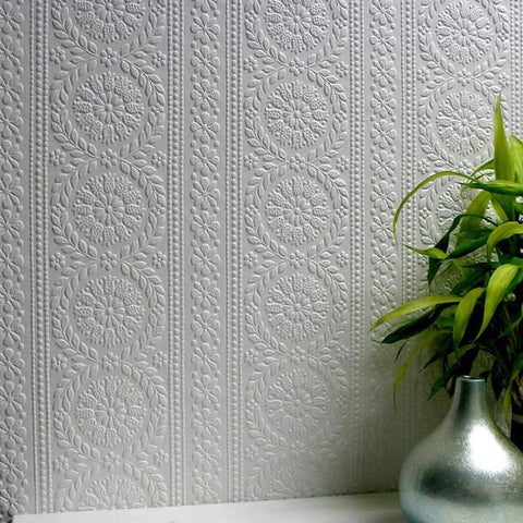 Townsend Paintable Anaglypta Wallpaper design by Brewster Home Fashions
