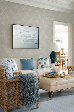 Tradewinds Grey Trellis Wallpaper from the Seaside Living Collection by Brewster Home Fashions