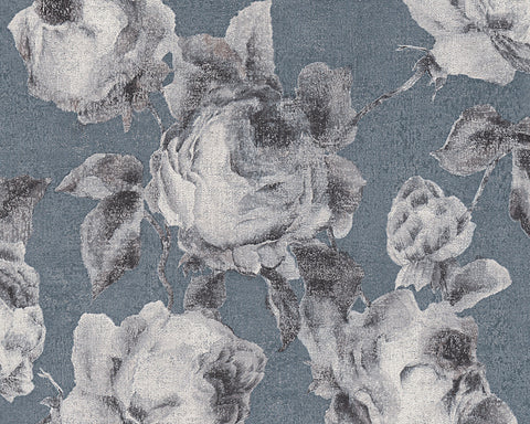 Traditional Floral Wallpaper in Blue and Grey design by BD Wall