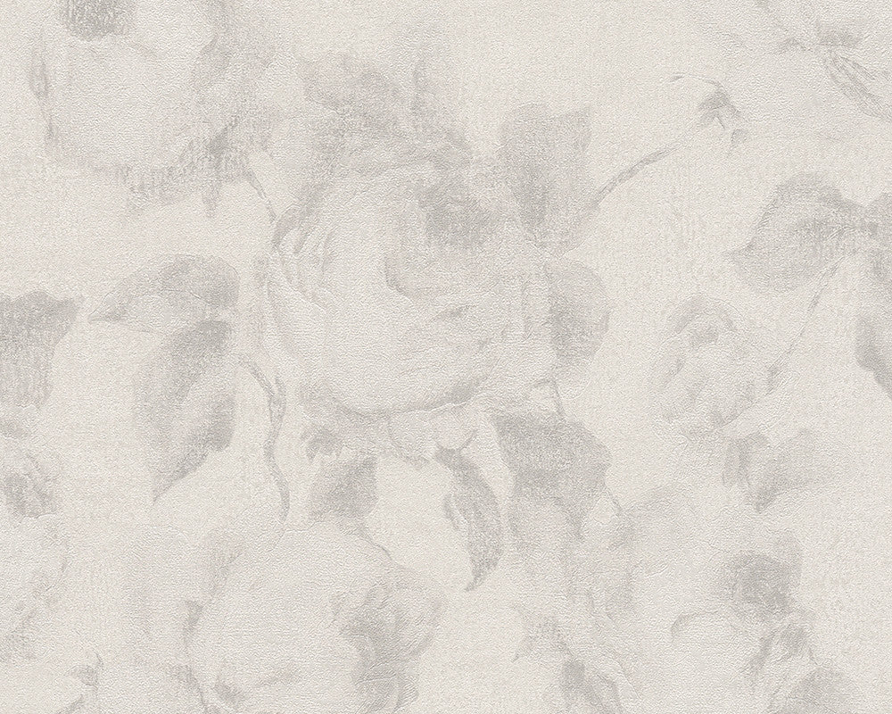 Traditional Floral Wallpaper In Cream And Grey Design By