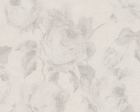 Traditional Floral Wallpaper in Cream and Grey design by BD Wall