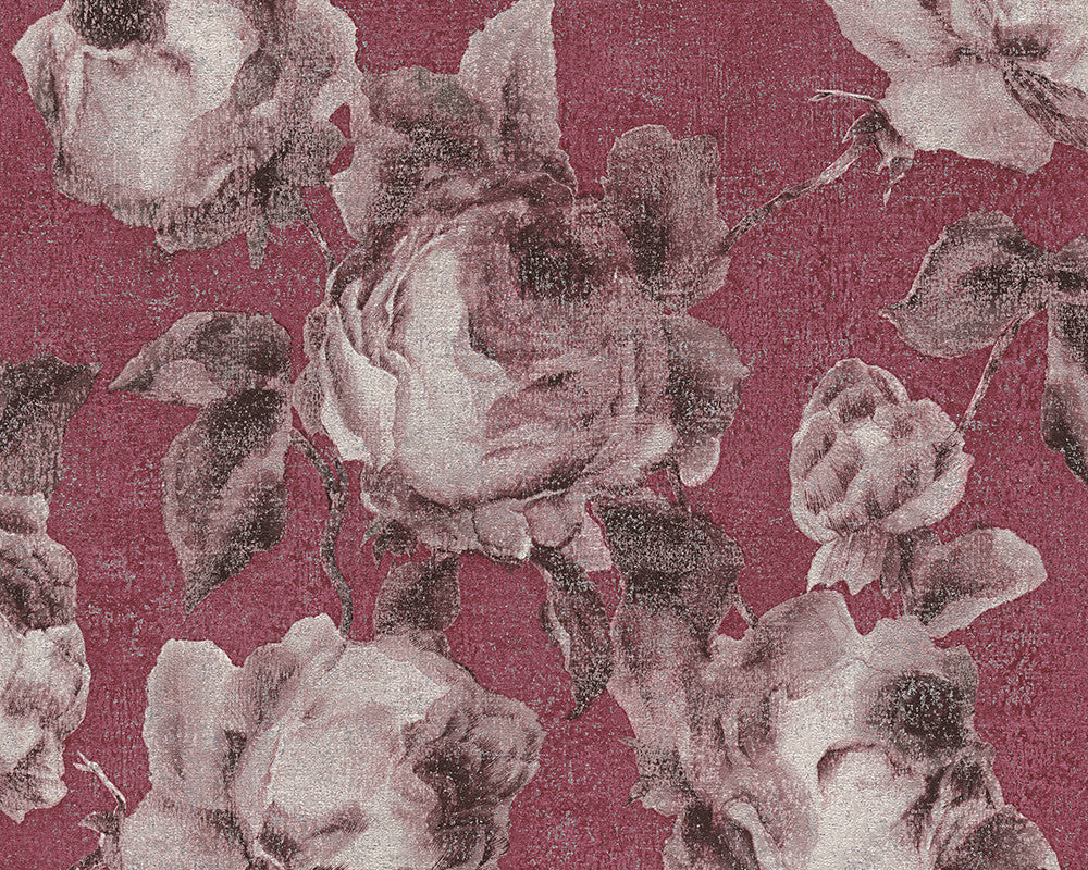 Sample Traditional Floral Wallpaper in Reds and Grey design by BD Wall