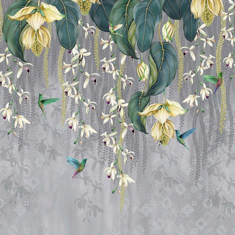 Trailing Orchid Wall Mural in Grey and Lemon from the Folium Collection by Osborne & Little