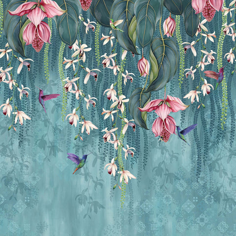 Trailing Orchid Wall Mural in Teal and Pink from the Folium Collection by Osborne & Little