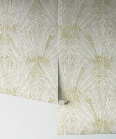 Travelers Palm Wallpaper (Two Roll Set) in Chartreuse by Bethany Linz for Milton & King