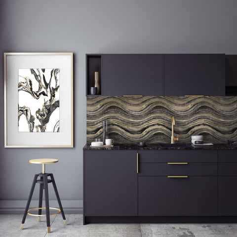 Travertine Self-Adhesive Wallpaper in Black and Gold design by Tempaper