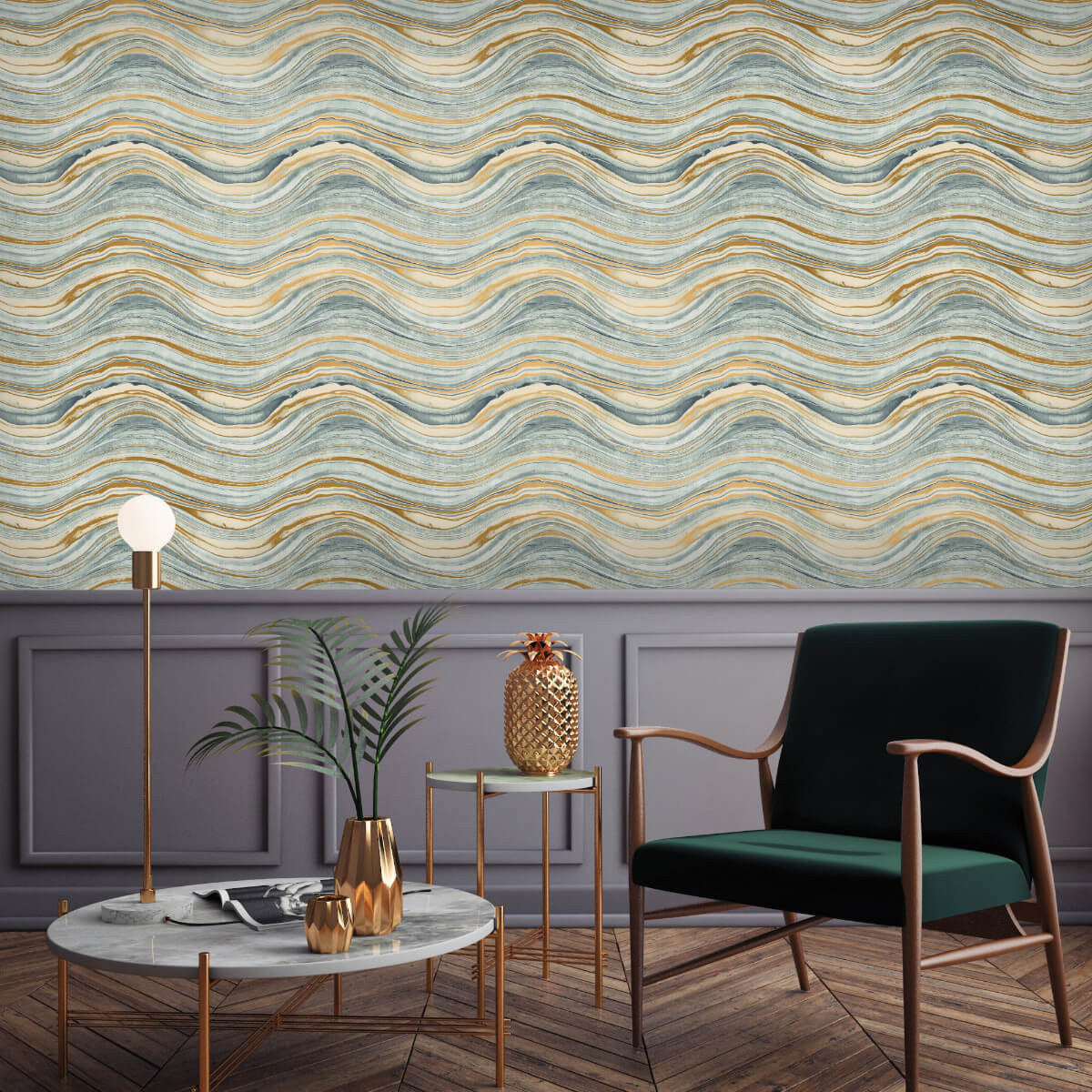 Travertine self adhesive wallpaper in aquamarie and gold for Gold self adhesive wallpaper