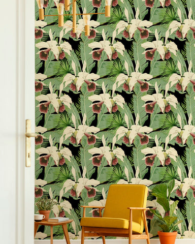 Treasure Island Wallpaper in Green and Black from the Palm Springs Collection by Mind the Gap