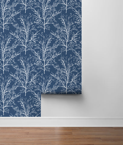 Tree Branches Peel-and-Stick Wallpaper in Coastal Blue by NextWall