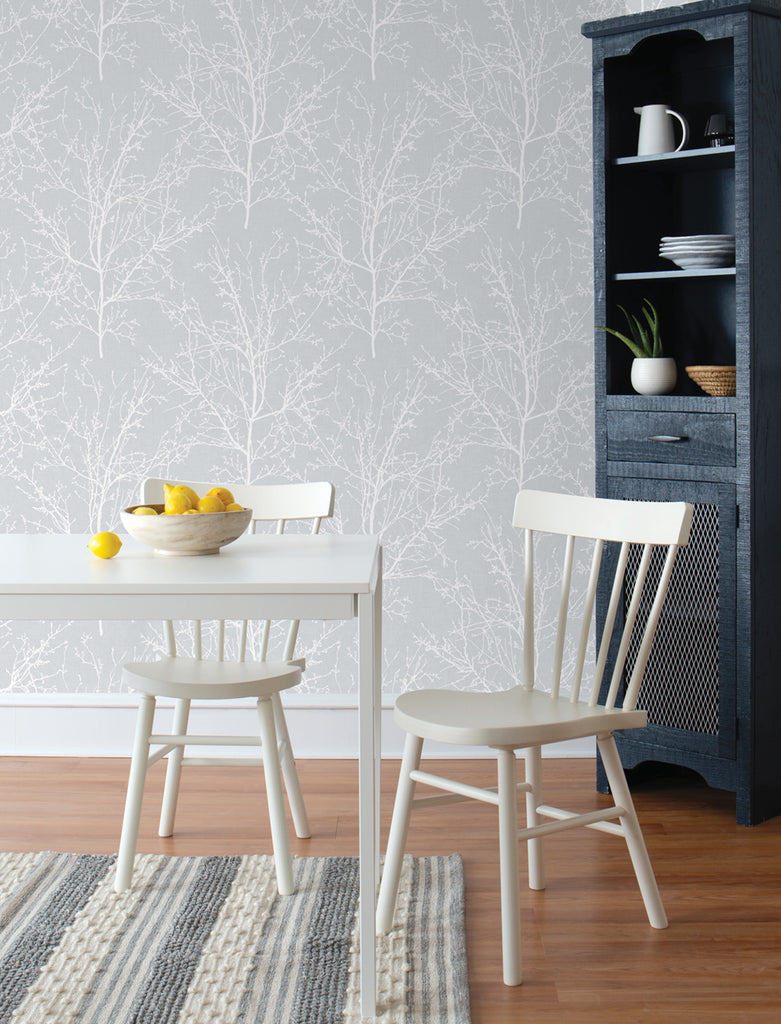 Tree Branches Peel-and-Stick Wallpaper in Daydream Grey by NextWall