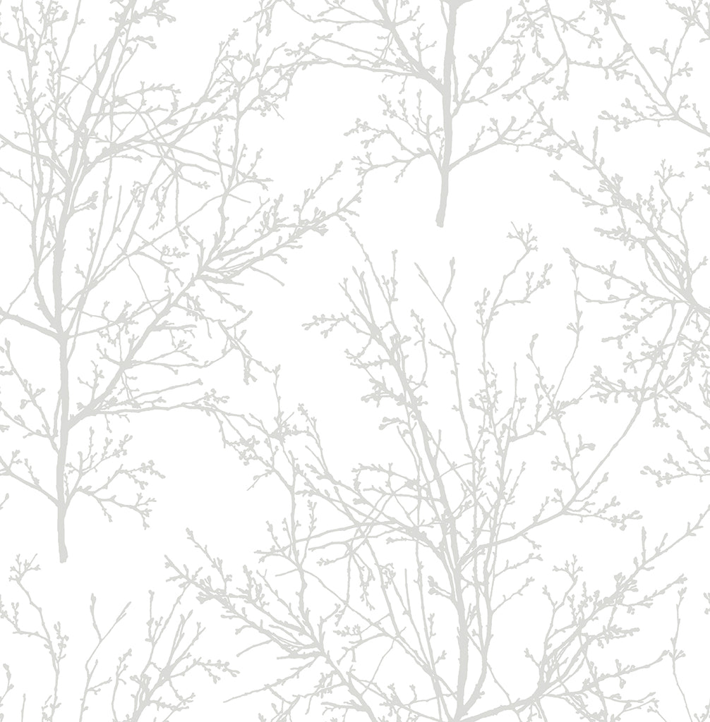 Tree Branches Peel-and-Stick Wallpaper in Pearl Grey by NextWall