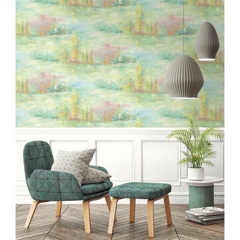 Tree Line Wallpaper in Pale Green, Pink, and Yellow from the French Impressionist Collection by Seabrook Wallcoverings