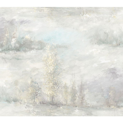 Tree Line Wallpaper in Pale Blue, Grey, and Neutrals from the French Impressionist Collection by Seabrook Wallcoverings