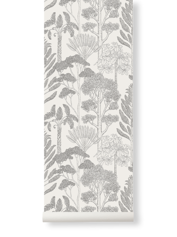 Trees Wallpaper in Off-White by Katie Scott for Ferm Living