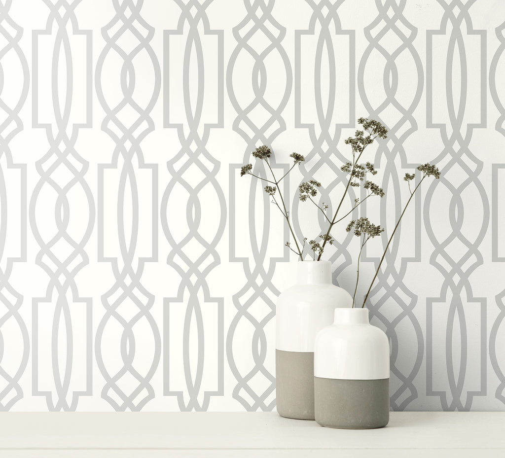 Trellis Peel and Stick Wallpaper in Silver from the Transform Collection by Graham & Brown