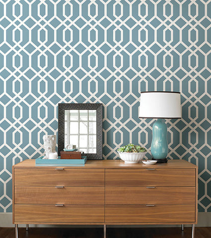 Trellis Blue Montauk Wallpaper from the Essentials Collection by Brewster Home Fashions