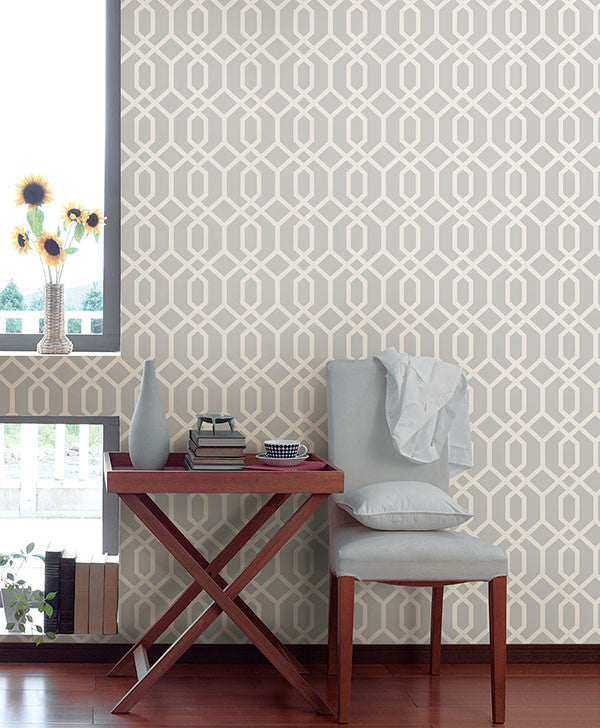 Trellis grey montauk wallpaper from the essentials for Home wallpaper collection