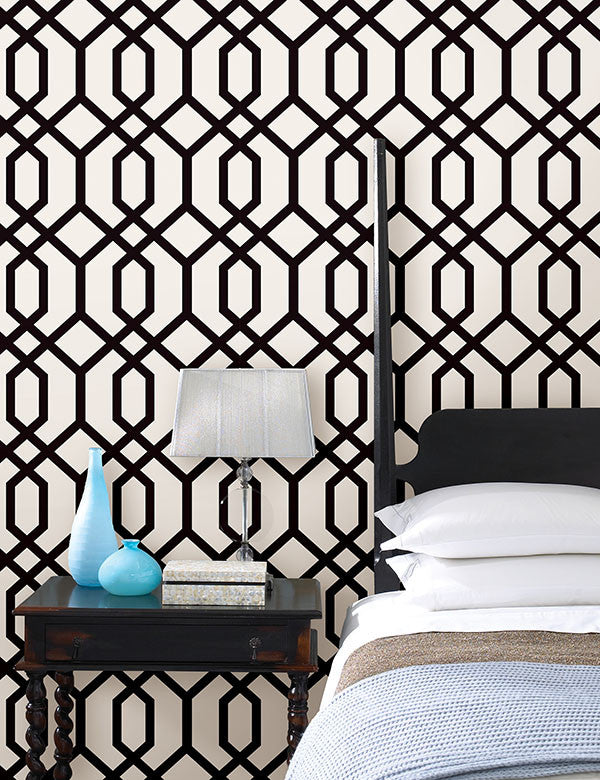 Trellis Black Montauk Wallpaper from the Essentials Collection by Brewster Home Fashions