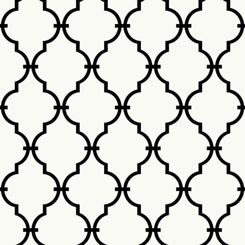 Trellis Peel & Stick Wallpaper in Black by RoomMates for York Wallcoverings