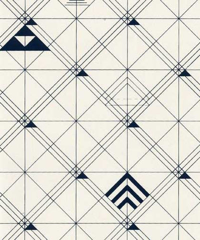 Trellis Wallpaper in Navy design by Cavern Home